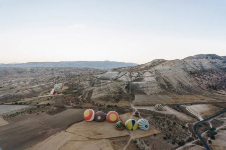 Hot air balloons in Goreme national park, fairy chimneys, Cappadocia, Turkey