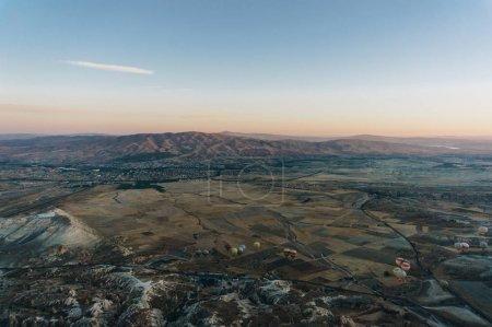 aerial view of Hot air balloons festival in Goreme national park, fairy chimneys, Cappadocia, Turkey