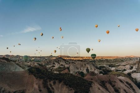 Photo for Mountain landscape with Hot air balloons, Cappadocia, Turkey - Royalty Free Image