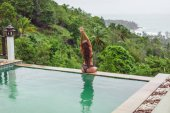 back view of girl with long hair posing at swimming pool on tropical resort