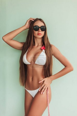 attractive slim girl posing in bikini and sunglasses
