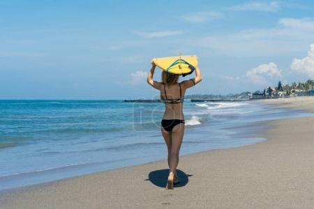Photo for Rear view of female surfer holding surfboard on head and walking on beach at the sea - Royalty Free Image