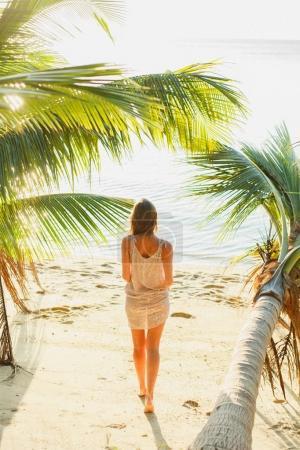 Photo pour Vue arrière de la femme debout entre les palmiers sur le bord de la mer - image libre de droit