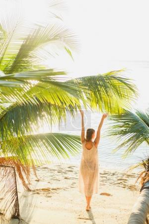 Photo for Back view of woman standing with hands up between palm trees on seacoast - Royalty Free Image
