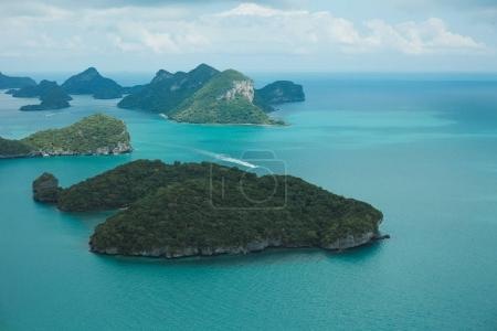 Photo for Aerial view of ship and islands in ocean at Ang Thong National Park, Ko Samui, Thailand - Royalty Free Image