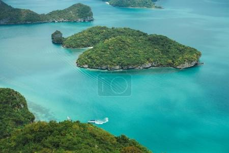 Photo for Aerial view of yacht between islands in ocean at Ang Thong National Park, Ko Samui, Thailand - Royalty Free Image