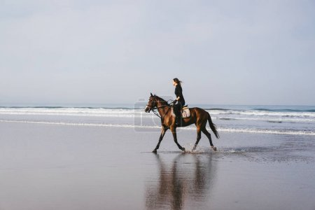 side view of young female equestrian riding horse on sandy beach
