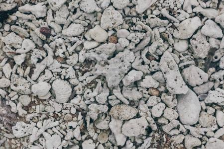 top view of gray pebble stones for background