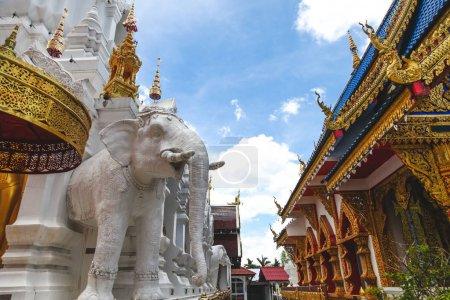 beautiful decorated hindu sculptures in thai temple
