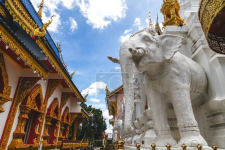 beautiful white elephant sculpture at thai temple