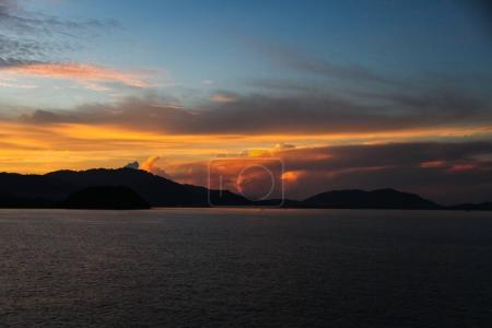 tranquil sunset seascape under colorful sky