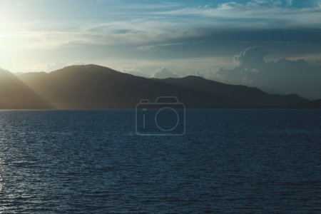 Photo for Beautiful seascape with hills silhouette on evening - Royalty Free Image