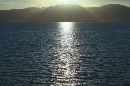 beautiful seascape with sunlight reflection on water