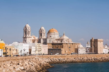 view of Cadiz Cathedral under blue sky, Cadiz, Spain