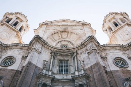 low angle view of facade of Cadiz Cathedral, Cadiz, spain