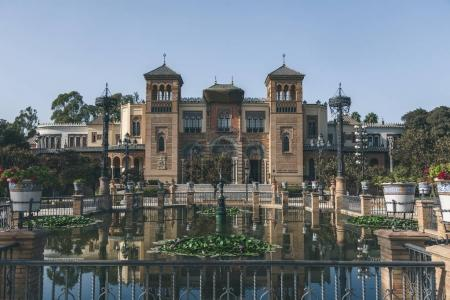 view of museum in Maria Luisa Park, Seville, spain