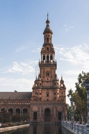 Photo for Eclectic tower under blue sky, Seville, spain - Royalty Free Image