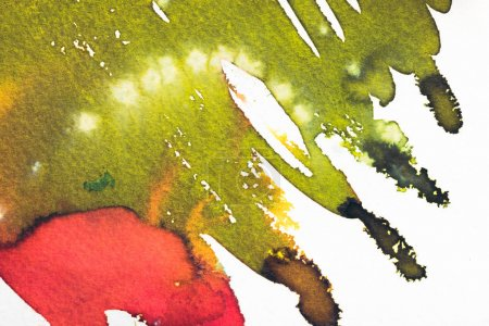 abstract painting with bright red and green spots on white