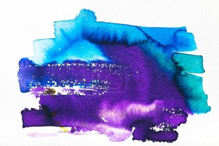 bright blue and purple abstract painting on white