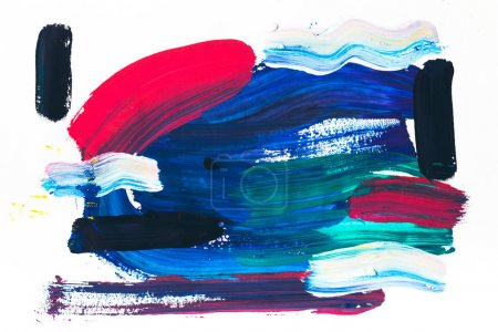abstract painting with various colorful brush strokes on white