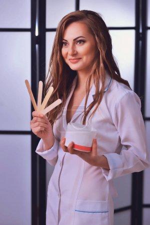 Portrait, Master Cosmetologist . Depilation by sugar hair remova