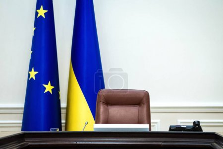 Empty chair of the Prime Minister of Ukraine in the Cabinet of Ministers meeting room in Kiev, Ukraine