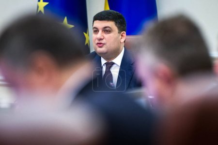 Prime Minister of Ukraine Volodymyr Groysman during the meeting of the Cabinet of Ministers in Kiev, Ukraine