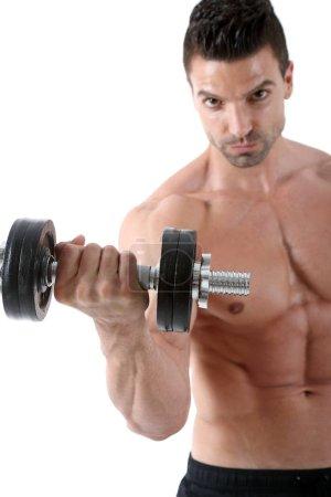 Bodybuilder exercising, isolated on white background