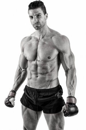 Muscular fighter posing in front of white background