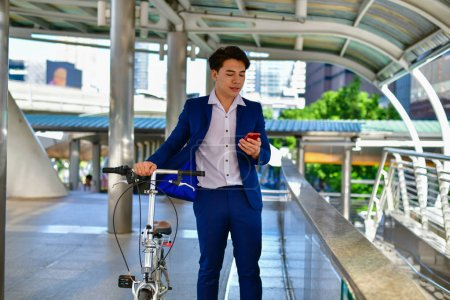 Concept Business people playing sports, Businessmen like to bike