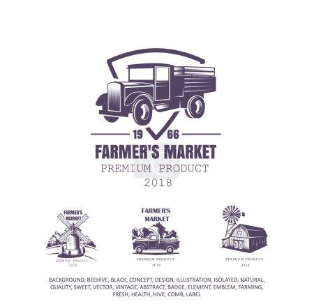 Illustration pour Vieux camion, logo agriculteur, icône de l'agriculture - image libre de droit