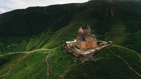 old castle in green mountains