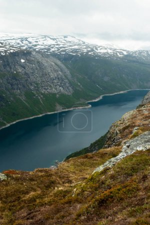 mountains and pond in Norway