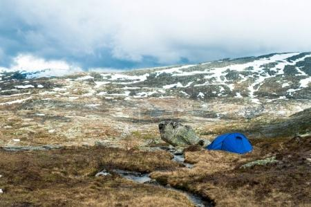 Photo for Travel background. Camping tent in Norway mountains - Royalty Free Image
