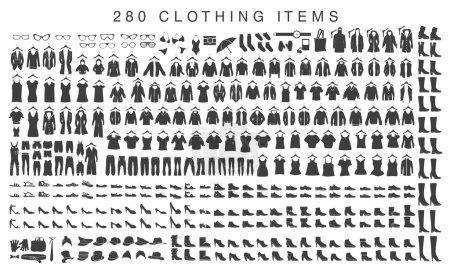 Illustration pour Jeu des silhouettes isolées des hommes et des femmes vêtements - image libre de droit