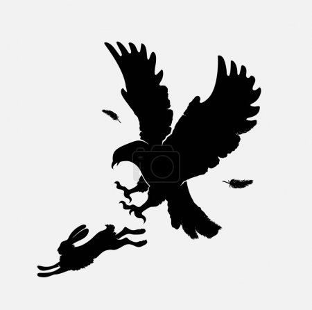 silhouettes of attacking eagle on running hare