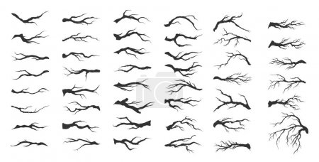 Illustration for Vector set dry tree branches on white background - Royalty Free Image
