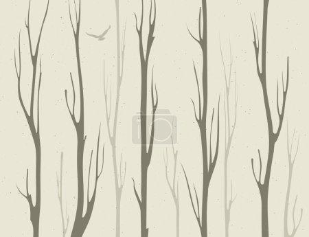 Illustration pour Branches sèches de bambous avec oiseau - image libre de droit