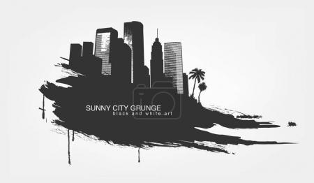set of city landmarks in black