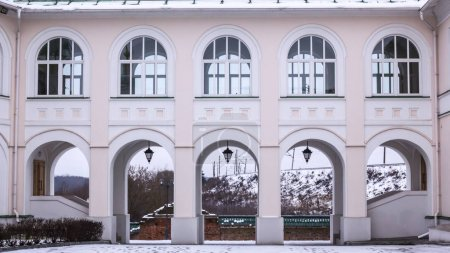 KOLOMNA, RUSSIA - DECEMBER 3, 2017 - The courtyard of the theological seminary. Gallery between buildings. Modern architecture.