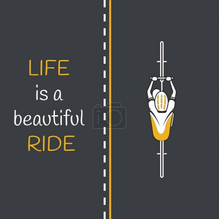 Bycicle on the road. Life is a beautiful ride