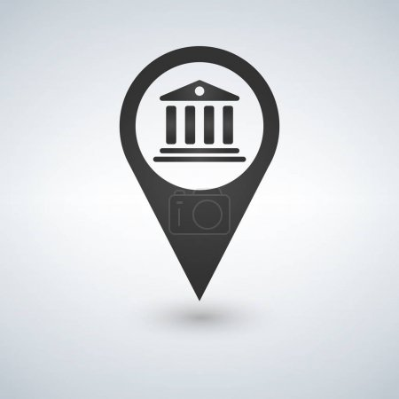 black map pointer bank icon, vector iluustrationisolated on white background.