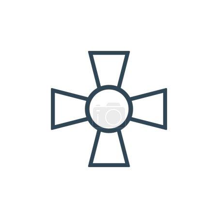Illustration pour Hachoirs linéaires croix amy militaire. Illustration vectorielle de stock isolé - image libre de droit