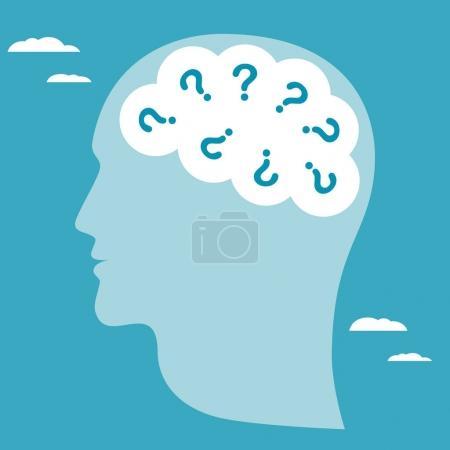 Illustration pour Symbole abstrait de nombreuses questions qui se posent à tête humaine. Illustration vectorielle de Business concept - image libre de droit