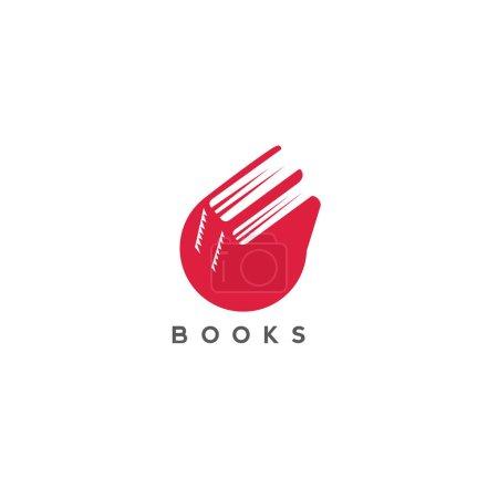 minimal logo of red color books vector illustration