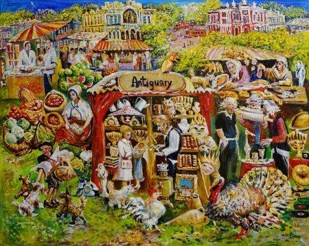 Foto de El panorama. Pintura de profesiones de vacaciones en el distrito judío. Pintura, petróleo - Imagen libre de derechos