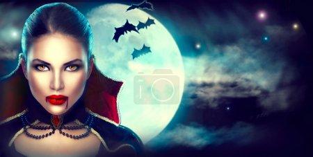 Fantasy Halloween woman portrait. Beauty sexy vamp...