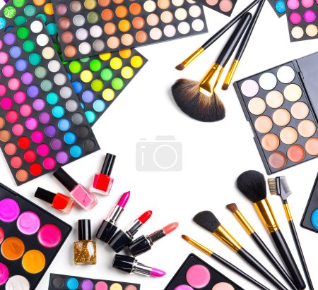 Makeup set palettes with colorful eyeshadows.