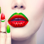 Beauty fashion watermelon makeup and manicure...