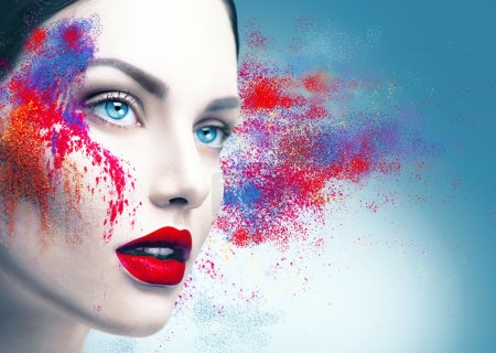 Photo for Fashion model girl portrait with colorful powder makeup - Royalty Free Image